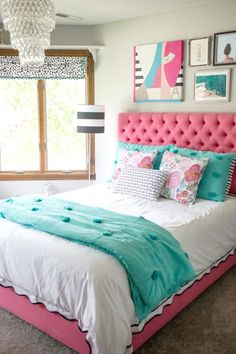 "Teen bedroom makeover (You should see the ""before"".green carpet and burgundy… Girls Bedroom Decor Dream Rooms, Dream Bedroom, Teen Bedroom Makeover, Bedroom Makeover Before And After, Turquoise Room, Turquoise Teen Bedroom, Teen Girl Bedrooms, Tween Girl Bedroom Ideas, Trendy Bedroom"