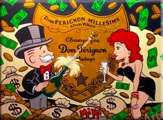 Alec Monopoly Beauty Champagne Oil Painting Canvas Painting Wall Pictures For Living Room Posters And Prints Wall Art Unframed Canvas Wall Art, Wall Art Prints, Canvas Prints, Painting Canvas, Don Perignon, Holographic Wallpapers, Mickey Mouse Art, Room Posters, Champagne
