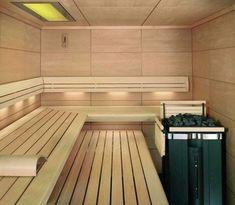 Small Sauna Room Interior Design Ideas With L Shape Bench Also Modern Coal Heat Machine Plus Recessed Lighting Sauna Steam Room, Sauna Room, Sauna Lights, Modern Saunas, Indoor Sauna, Add A Room, Sauna Design, Finnish Sauna, Spa Rooms