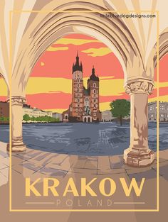© 2021 Little Blue Dog Designs Poland Travel, Italy Travel, Krakow Poland, Capri Italy, Blue Dog, Beautiful Posters, Rest Of The World, Vintage Travel Posters, Europe