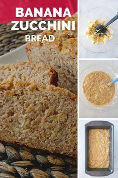 Banana zucchini bread is a delicious combination of banana bread and zucchini bread. An easy quick bread recipe that will become your new favorite! Tasty Bread Recipe, Healthy Bread Recipes, Baking Recipes, Banana Zuchini Bread, Zucchini Bread, Fun Desserts, Delicious Desserts, Dessert Recipes, Dessert Ideas