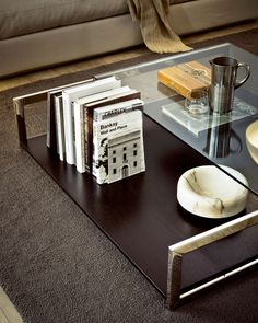 Square Case 2, coffee table, stainless steel, glass, wood