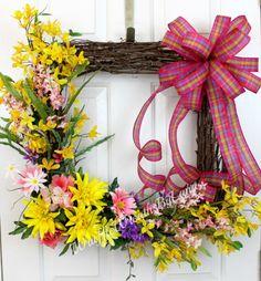 Spring Square Grapevine Wreath Summer Grapevine Wreath
