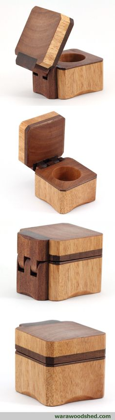 Wooden Ring Boxes Wooden ring box made from Queensland Maple and Red Ironbark.Wooden ring box made from Queensland Maple and Red Ironbark. Carpentry Projects, Woodworking Projects That Sell, Learn Woodworking, Popular Woodworking, Woodworking Plans, Wooden Hinges, Wooden Ring Box, Small Wood Projects, Into The Woods