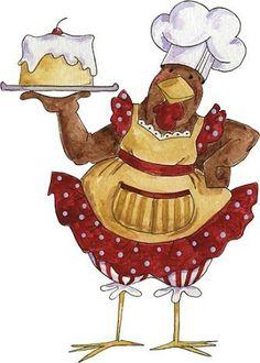 gallina de reposteria colorejada.