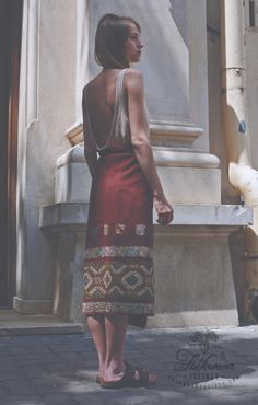 """Adela is wearing an ancient folk Romanian wrap-around skirt called """"fotă"""" from the ethnographic area of Muscel. Discover More at www.folkwearsociety.com"""