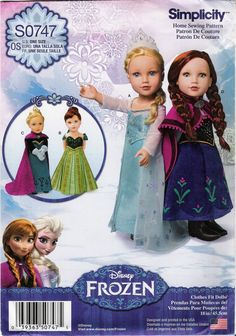 "Simplicity 0747 Disney Frozen Fashion 18"" Doll Clothes"