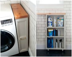 Squeeze every last inch of space out of a narrow utility room with a custom shelf that happily hides your cleaner clutter. Get the tutorial at Manhattan Nest »