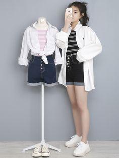 Korean Girl Fashion, Korean Street Fashion, Ulzzang Fashion, Korea Fashion, Aesthetic Fashion, Look Fashion, Aesthetic Clothes, Fashion Outfits, Modern Outfits