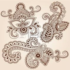 Hand-Drawn Henna Paisley Flowers Mehndi Doodles Abstract Floral Vector Illustration Design Elements photo