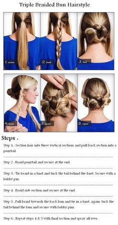 DIY - Three Braided Bun Hairstyle Tutorial