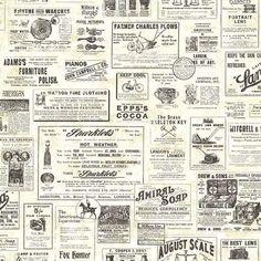 """Countryside Adamstown Vintage Newspaper 33' x 20.5"""" 3D Embossed Wallpaper"""