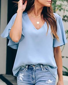 Women Light-blue Flounce Sleeve V Neck Casual Blouse - XL Ruffles, Light Blue Blouse, Blouse Online, Short, Sleeve Styles, Casual Outfits, Ruffle Blouse, V Neck, Womens Fashion