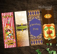 Harry Potter Bookmarks |  Honeyduke's Goodies!  Butterbeer!  Pumpkin Juice!  |  Printable Bookmarks Set of 4 | Chocolate Frog, Bertie Botts