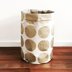 Gold metallic spot laundry hamper or toy by LittleHomeHandmade Fabric Storage Baskets, Toy Storage, Laundry Hamper, Closet Bedroom, Little Houses, Getting Organized, My Etsy Shop, Baby, Shapes