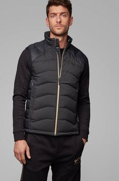BOSS - Link² quilted gilet with reflective details Fit Back, Black Vest, Duck Down, Winter Jackets, Warm Jackets, Jersey Shorts, Hugo Boss, Menswear, Sporty