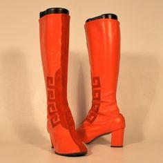 Vintage Go Go boots w/ Greek Key design. Battani #60s #boots