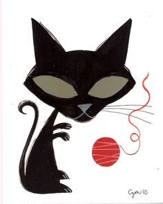El Gato Gomez black cat with red yarn ball Eye Art, Cat Painting, Modern Art Prints, Cat Art, Illustration Art, Art, Kinder Art, Mcm Art, Gouache Painting