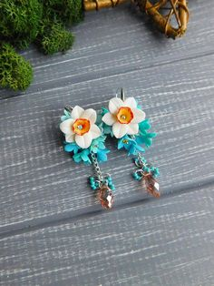Daffodil earrings Spring jewelry Long flower earrings Forget me not jewelry Dangle earrings Silver earrings Gift for girlfriend Clay jewelry Daffodil diameter - 1 inch \ 2.4 cm length earrings 2.3 inches \ 6 cm width 1 inch \ 2.5 cm Material: Polymer Clay, glass beads All details