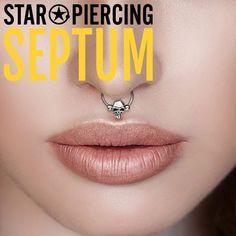 {PiA} Septum Clicker BLUMEN mit Kristallen ROSA Septum Piercing Piercingschmuck