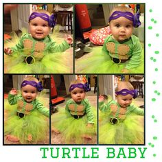 Made this ninja turtles costume for my 7 month old girl to be a tmnt with her 4 year old big brother. It's 100% homemade with green dyed onesie and tube sock leggings made from her daddy's socks. Share to give other mommas ideas!