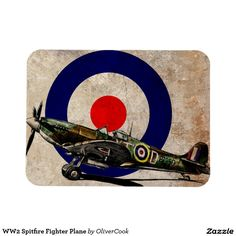 WW2 Spitfire Fighter Plane Rectangular Photo Magnet