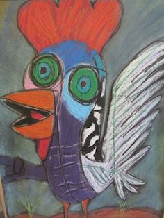 """roosters inspired by Picasso's """"Le Coq"""" from A Glimmer of Light - (Examples in Kindergarten drawer)"""