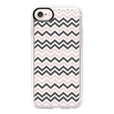 Elegant blush pink gray white zigzag chevron - iPhone 7 Case And Cover (€36) ❤ liked on Polyvore featuring accessories, tech accessories, phone covers, iphone case, white iphone case, iphone cases, apple iphone case, iphone cover case and clear iphone case