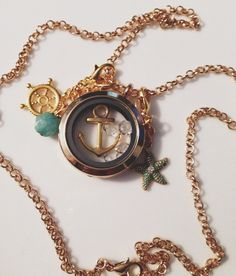 Gold Nautical Floating Locket Necklace with by HerringtonLake, $24.99