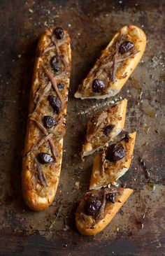 Pissaldiere. Slowly caramelised onions, thyme, olives and anchovies