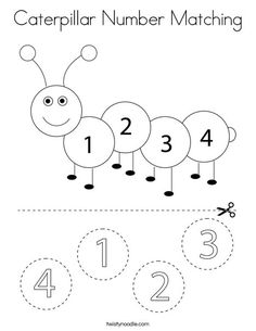 Caterpillar Number Matching Coloring Page - Twisty Noodle Preschool Number Worksheets, Numbers Kindergarten, Numbers Preschool, Learning Numbers, Preschool Worksheets, Preschool Learning Activities, Toddler Activities, Preschool Activities, Numbers For Kids