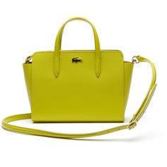 Lacoste Women`s Chantaco Leather Shopping Bag - Small Format ($235) ❤ liked on Polyvore featuring bags, handbags, tote bags, leather tote handbags, handbags totes, genuine leather tote, leather handbags and leather tote bags