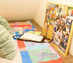 war room prayer closet with bible and pictures