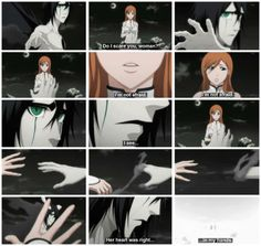 Anime/manga: Bleach Characters: Inoue Orihime and Ulquiorra, don't know why I pinned this but this moment in the anime is really good.