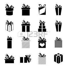 Set of icons with a variety of gift box and ribbons.  photo