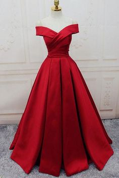 Prom Dresses For Teens, Gorgeous Satin Red Off Shoulder Prom Gowns Lace up, Long Red Gowns, Formal Gowns Dresses Modest A Line Prom Dresses, Lace Evening Dresses, Prom Party Dresses, Dress Prom, Red Satin Prom Dress, Long Dresses, Long Gowns, Prom Dresses Dark Red, Satin Gown