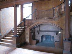 Ingenious way to incorporate inglenook fireplace under stairs Victorian Interiors, Victorian Homes, H Design, House Design, Inglenook Fireplace, Fireplaces, Cumberland Island, Under Stairs, Cozy House