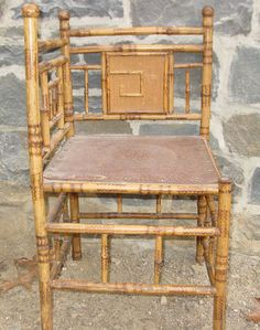 Antique Asian BAMBOO Corner Chair