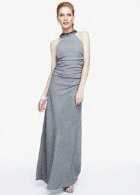 Sleeveless Glitter Knit Long Jersey Dress, Style 56385D #davidsbridal #grayweddings