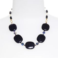 Dabby Reid Ashley Necklace - Navy Goldstone  www.dabbyreid.com