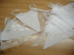 20 ft White lace & Fabric Bunting On Ribbon Weddings Party Handmade