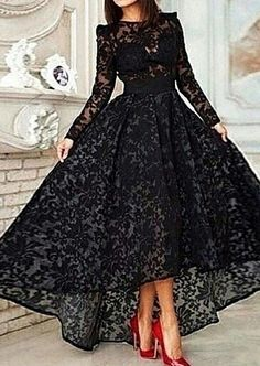 $179-Vestido Black Hi-lo Long Sleeves Prom Dresses Sheer Lace Evening Gowns_2015…