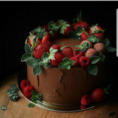 new Ideas cupcakes chocolate strawberry desserts Chocolate Strawberry Desserts, Strawberry Cakes, Chocolate Cupcakes, Strawberry Cake Decorations, Chocolate Cake With Strawberries, Cute Cakes, Pretty Cakes, Food Cakes, Cupcake Cakes