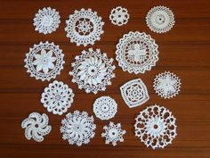 Fifteen Crochet Petit Doilies in Antique by Aimezvousclassique