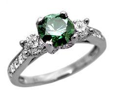 Signore 18ct Oro Bianco 2ct Anello Verde Di Fidanzamento Con Diamante Tondo | Ladies Diamond Ring