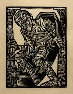 The Mummy Block Print by WoodcutEmporium on Etsy