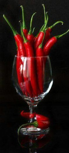 Red, glass of chillies