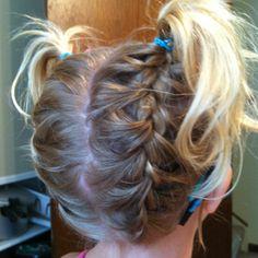 Upside-down pigtails- kinda cute for little girls