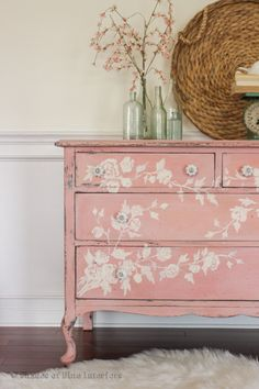 Lovely soft, springy distressed pink dresser with handpainted trailing white roses--custom mix of MMS Apron Strings with Ironstone + white wax finish... Shades of Blue Interiors