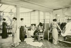 The salons had their own in-house models who were on call all day long for potential customers, ready to stand motionless for hours on end, wearing corsets and dresses their could likely never afford themselves.